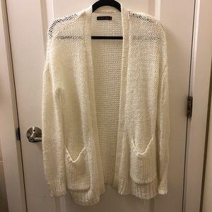 Volcom Fuzzy Knit White Cardigan in XS
